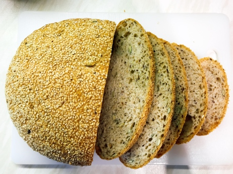 Freshly baked seeded bread from the bakery
