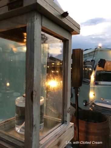 Lantern near the food trucks.