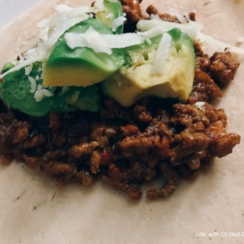 Pancake with mince, avocado and cheese
