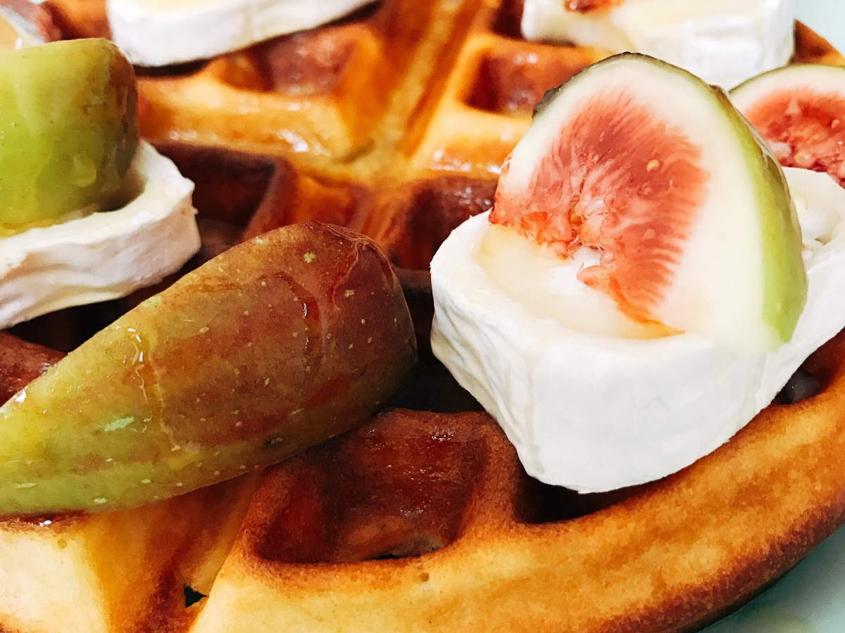 Fig, brie and honey waffle
