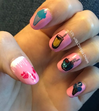 Cocktails and Ice Cream Pink nail art