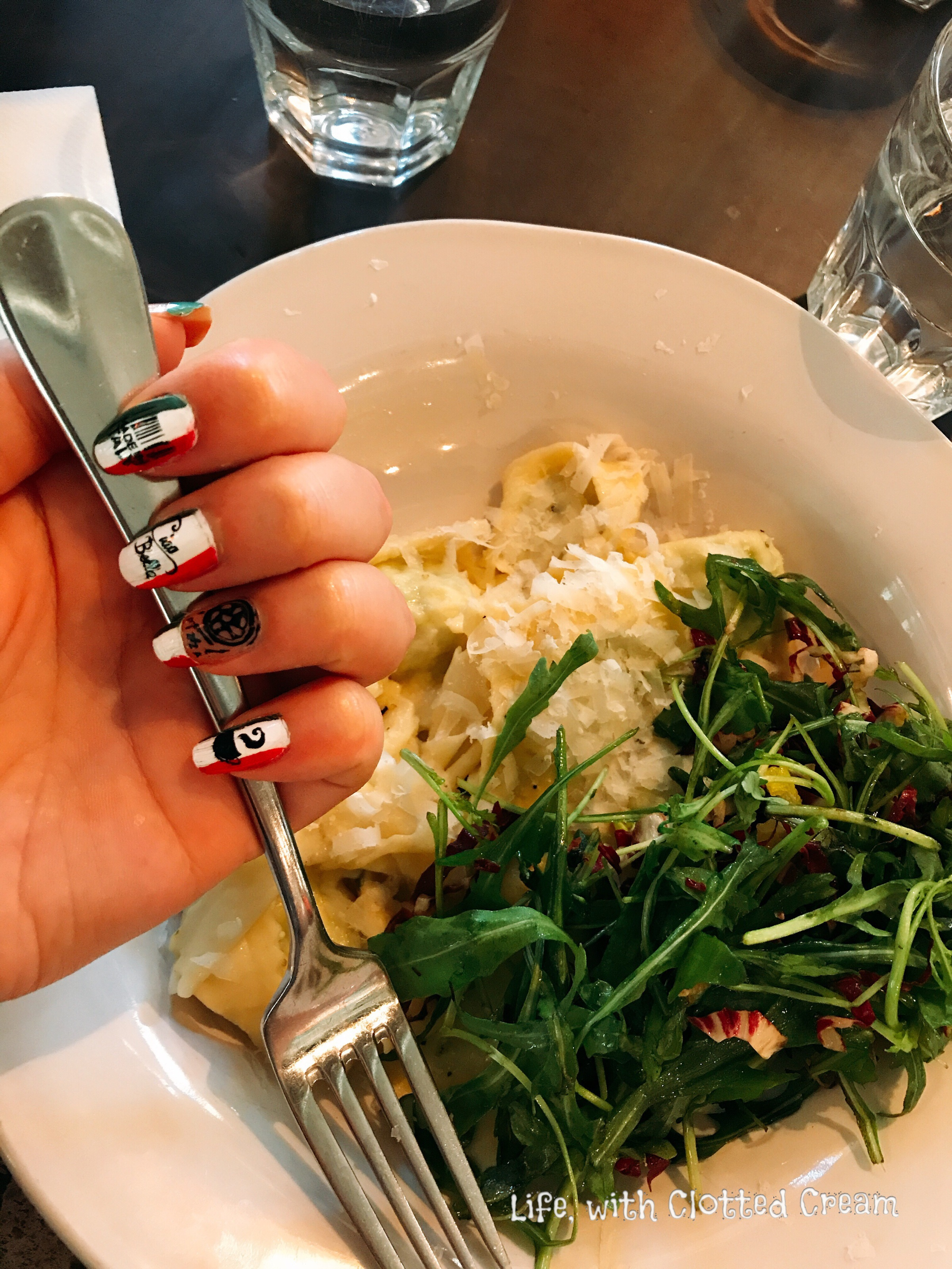 Filled Pasta with Italian-inspired nail art at Jamie Oliver's Cookery School