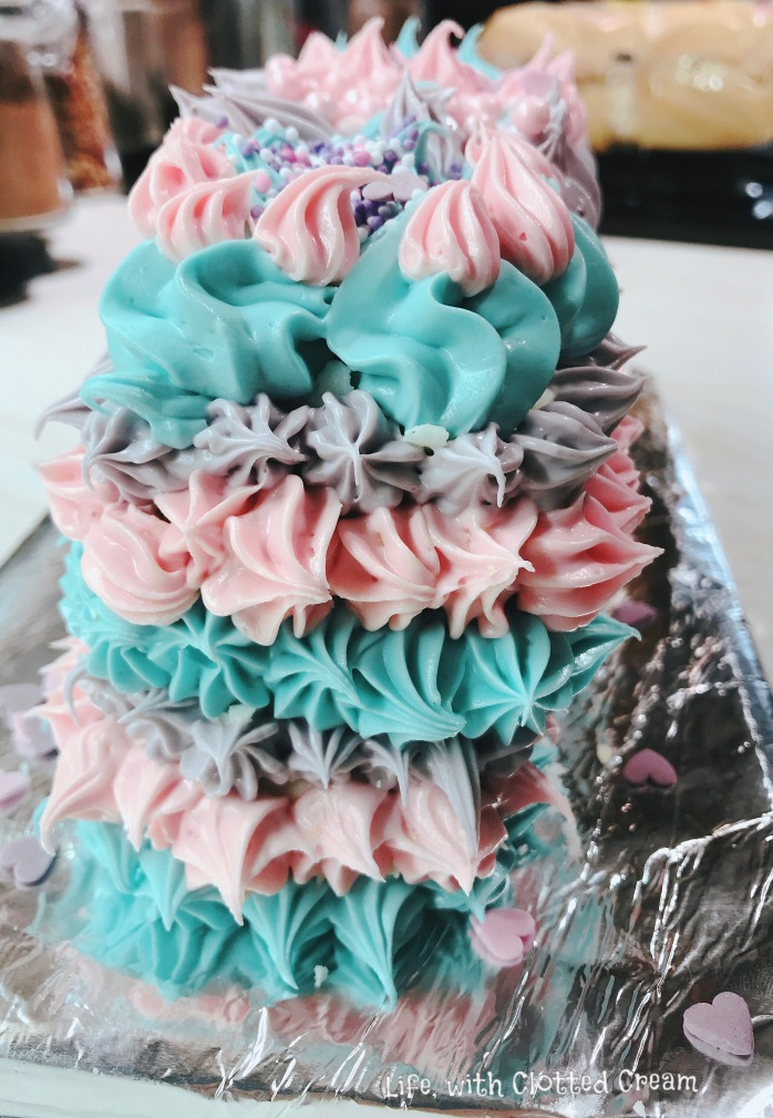 Blue Pink Purple icing cake