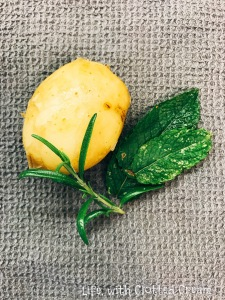 Baby potato with mint and rosemary