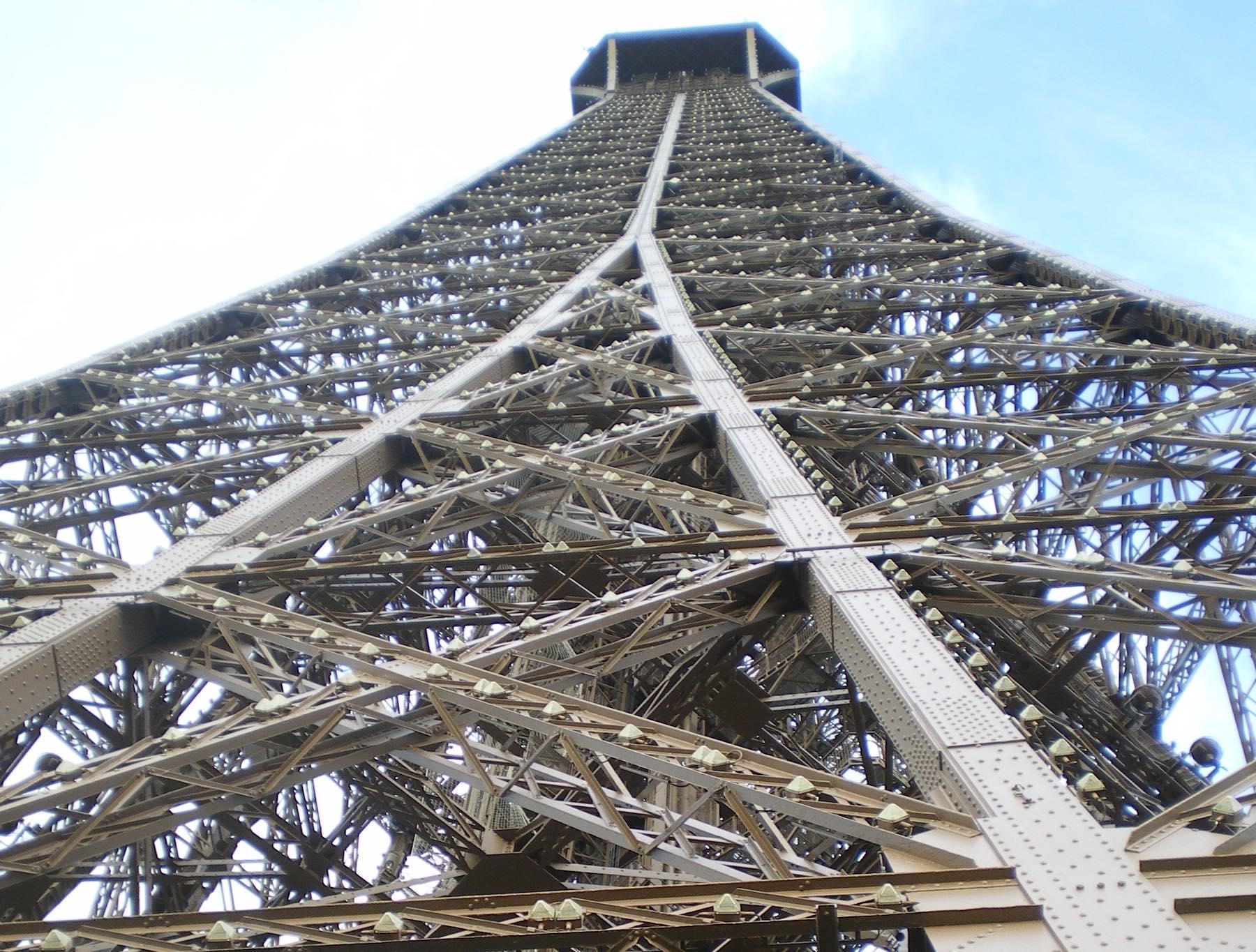Upwards shot of the Eiffel Tower in Paris