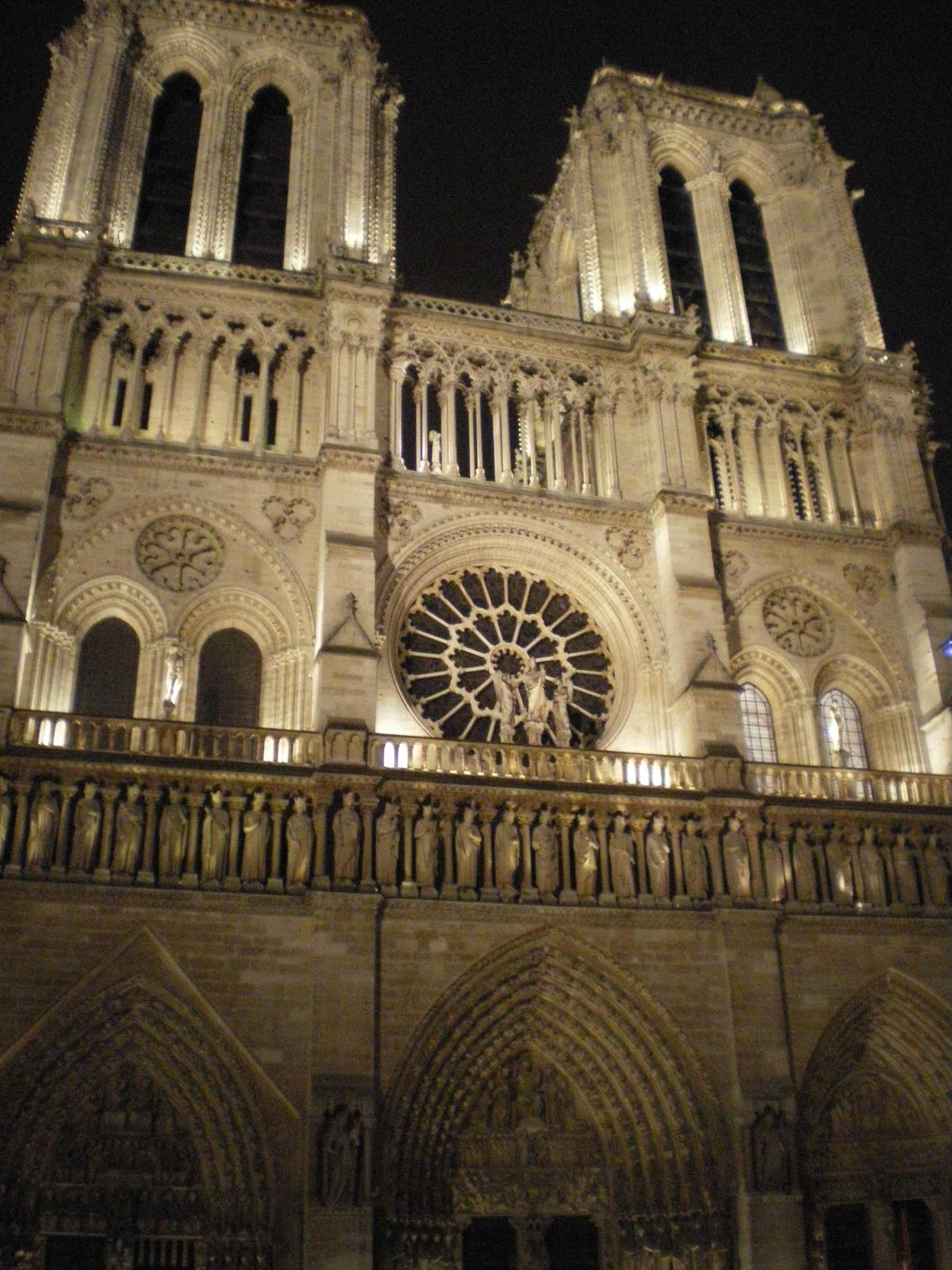 Notre Dame Rose window by night