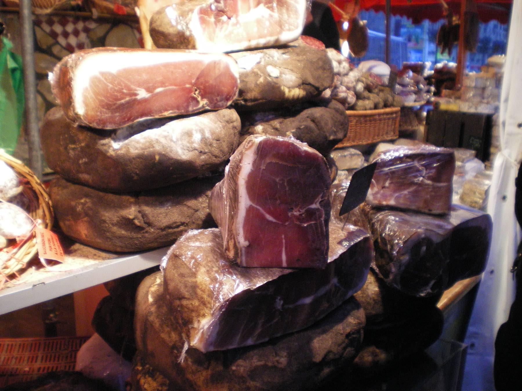 Parma ham at a Market in Paris