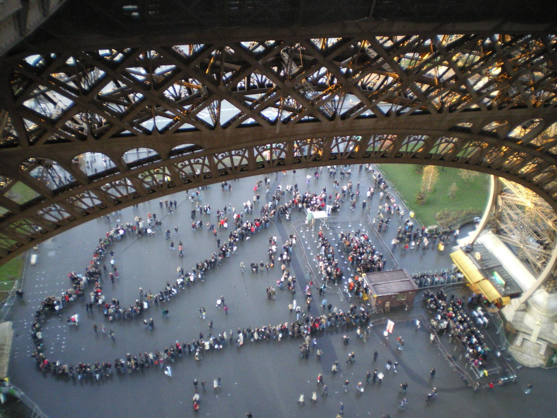 People queuing to get up the Eiffel Tower