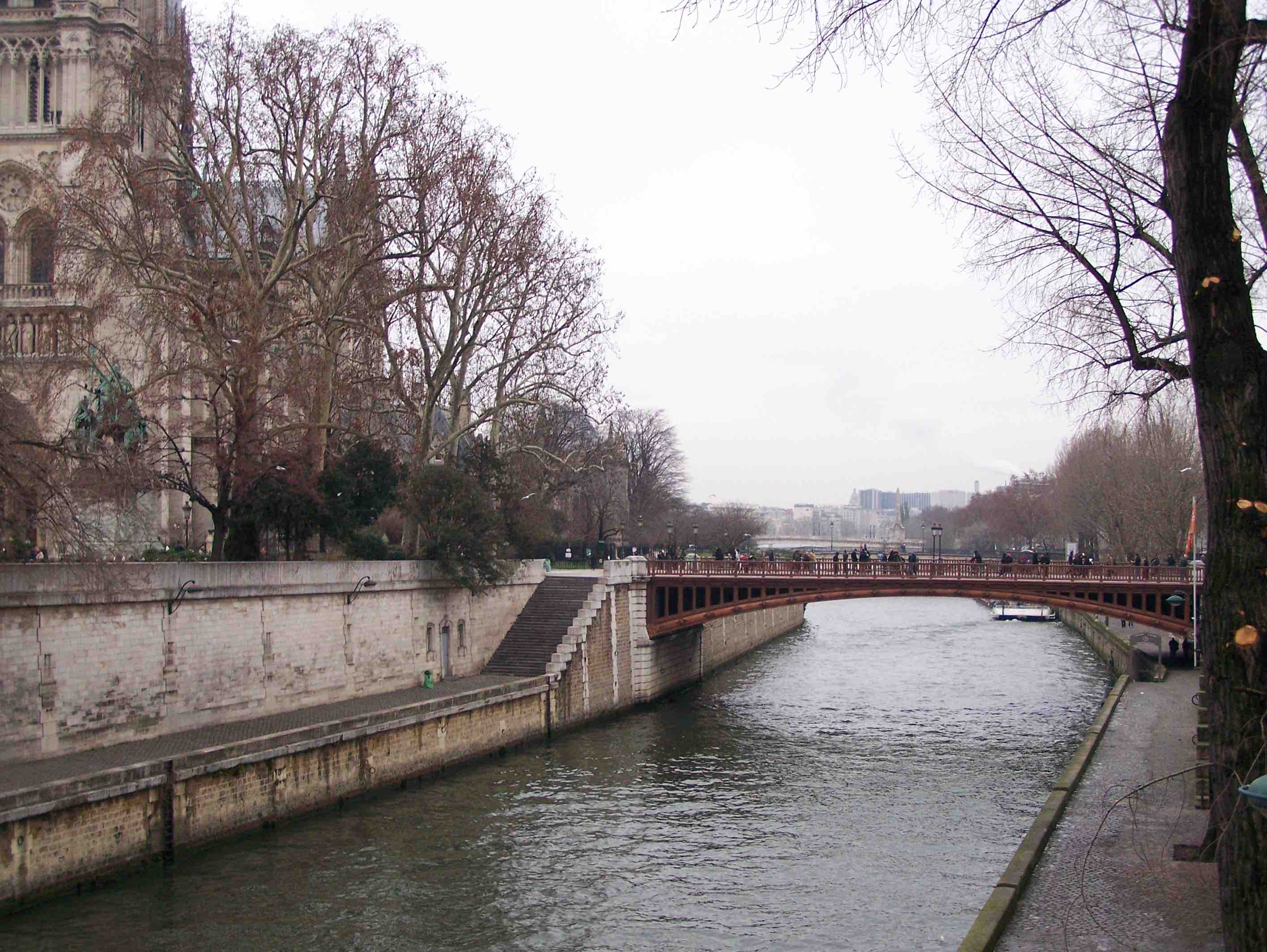 The Seine in Paris with side view of Notre Dame
