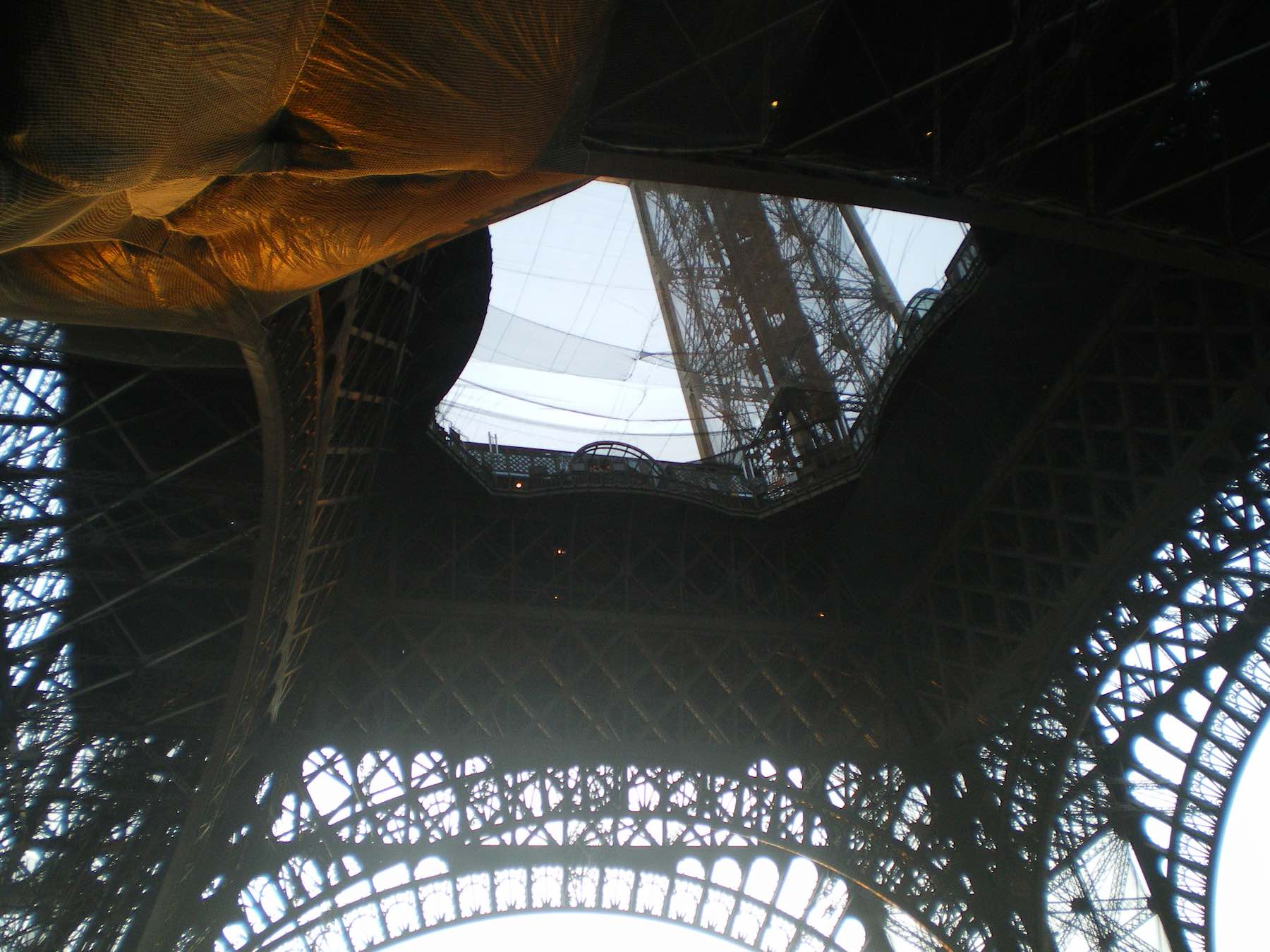 Looking up to the Eiffel Tower