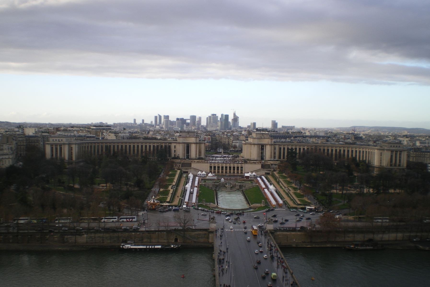View from the Eiffel Tower in Paris with cloud bank