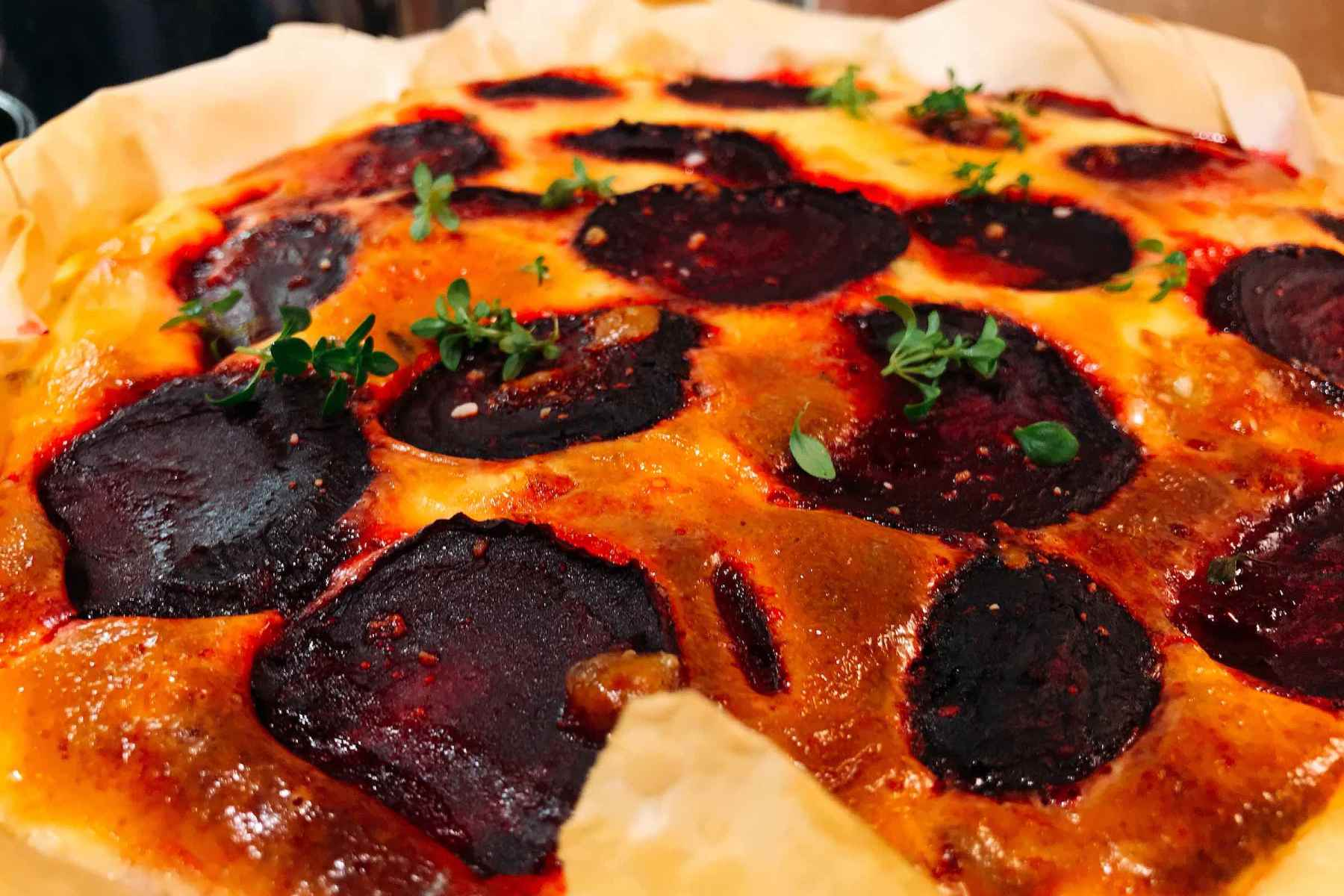 Beetroot and Goat's Cheese Quiche