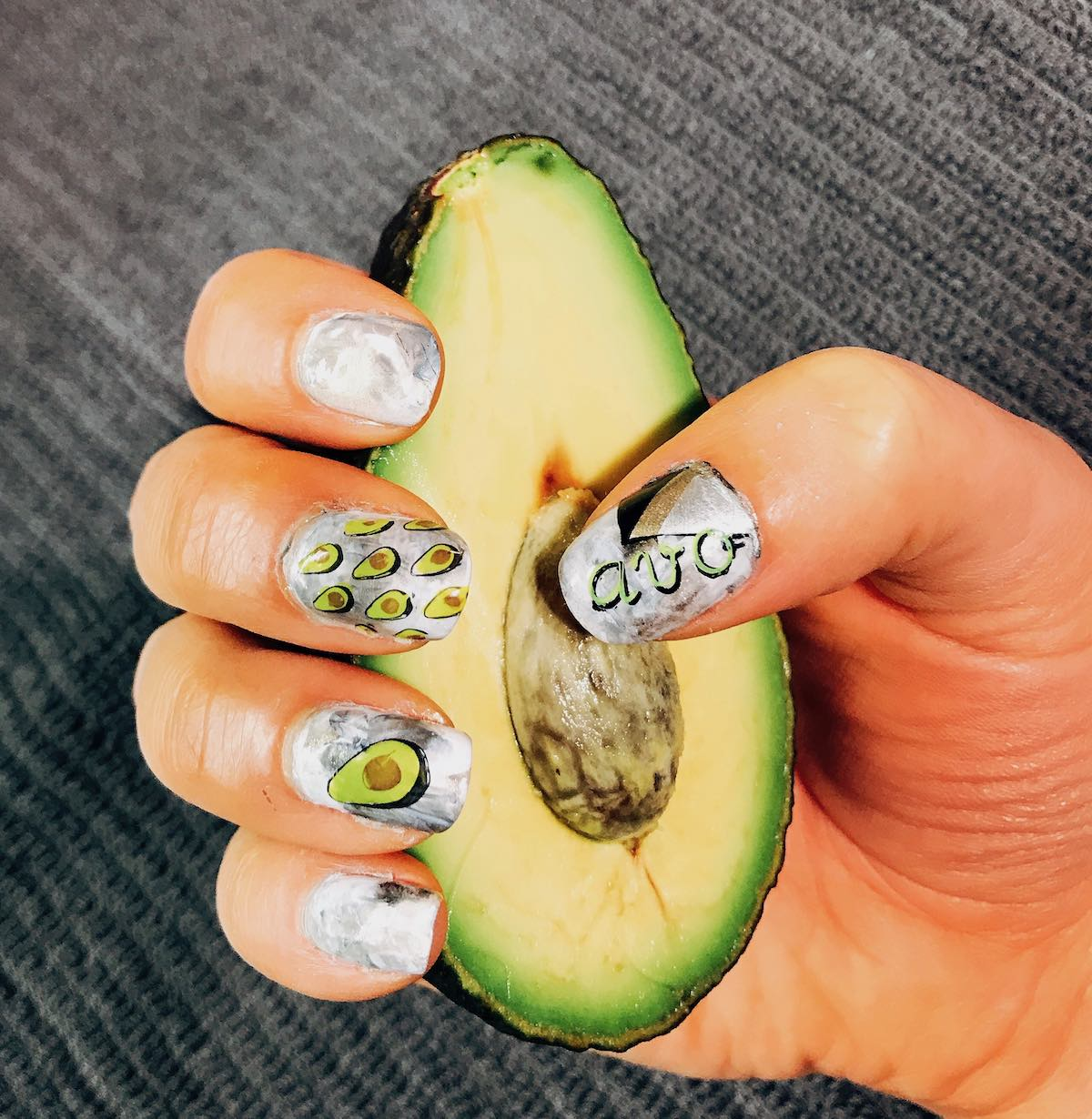 Halve avocado with nail art