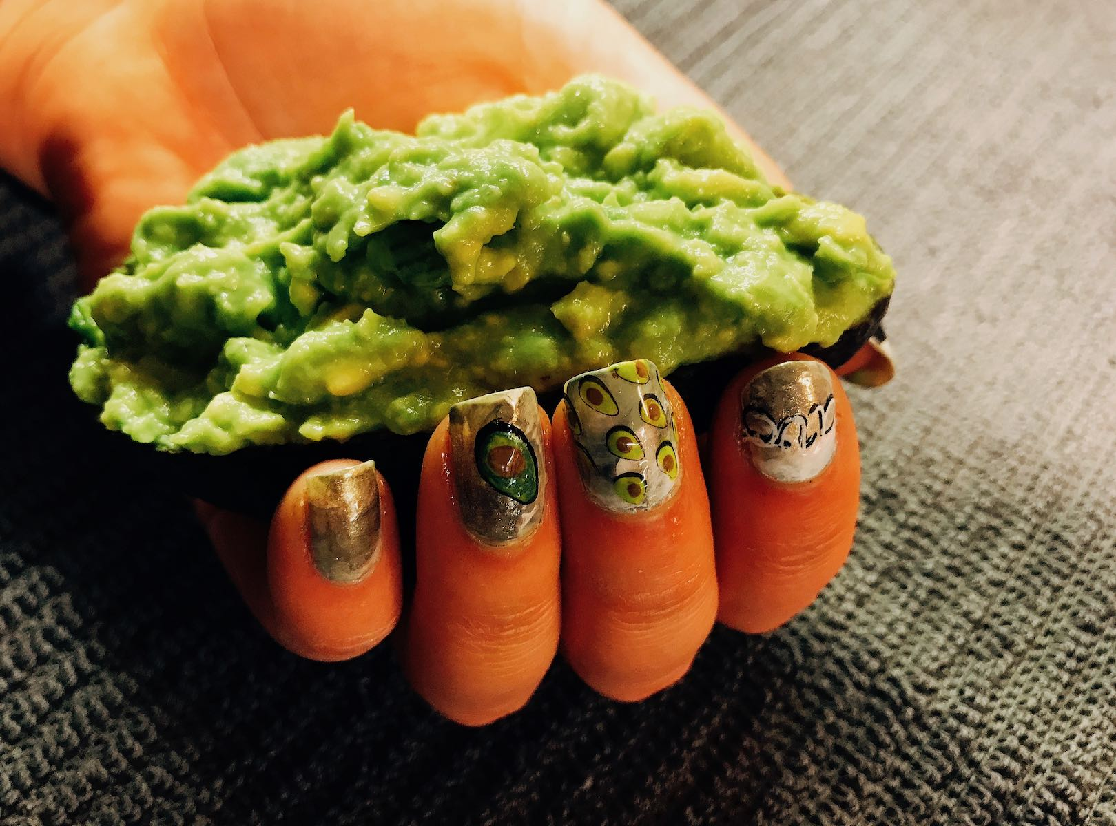 Mashed avocado with Nail art