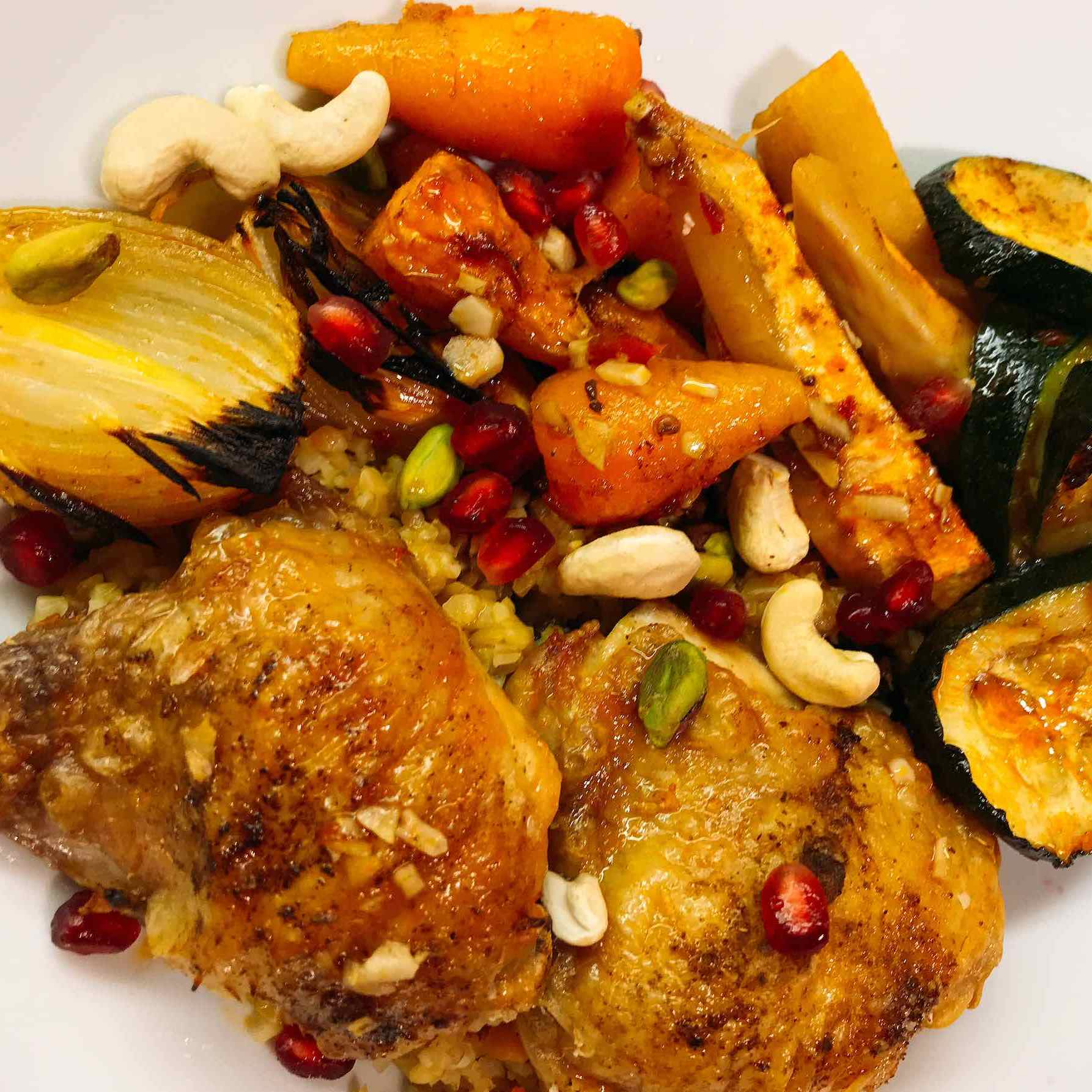 Plated Moroccan chicken dish