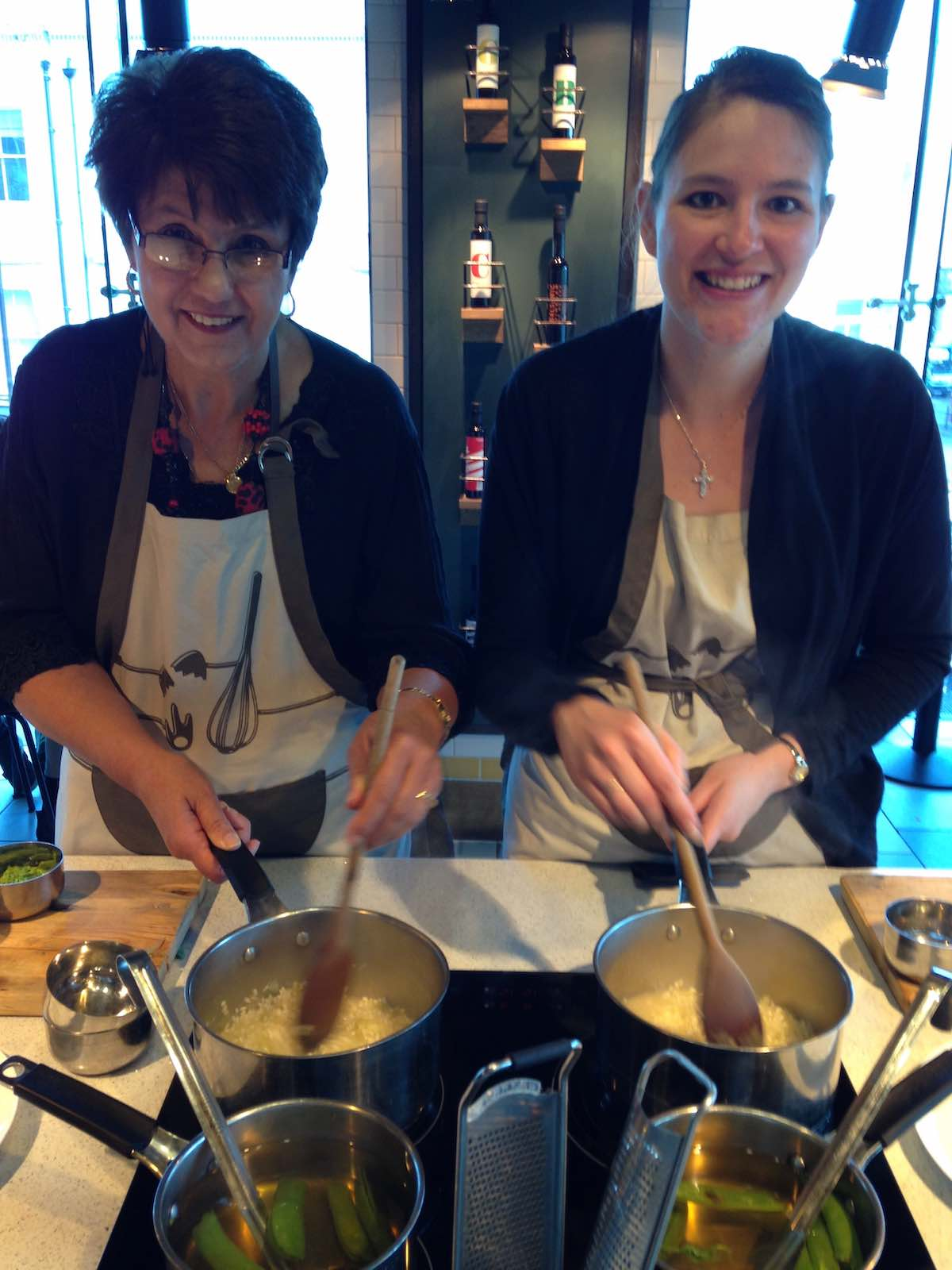 My mum and I making risotto