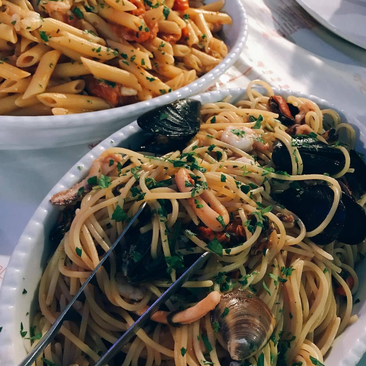 Two seafood pastas