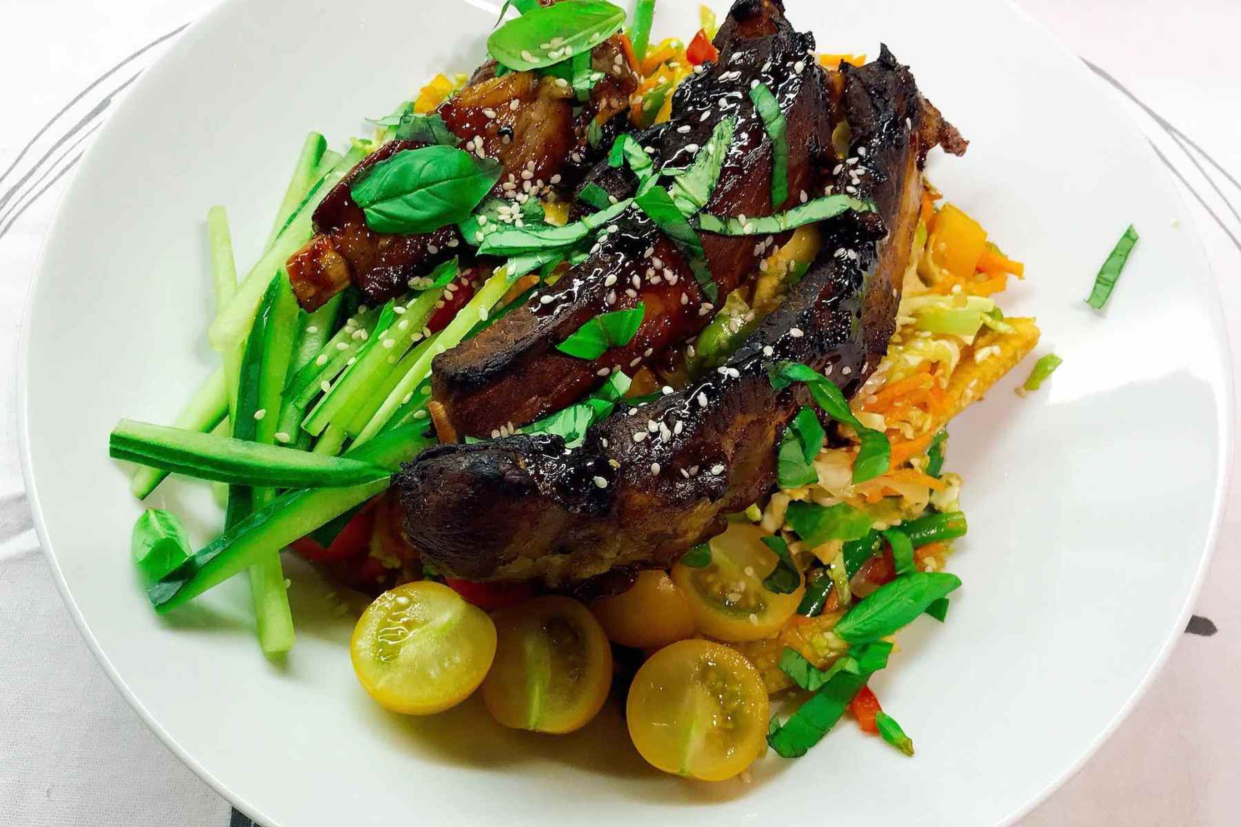 Pork ribs with noodle slaw