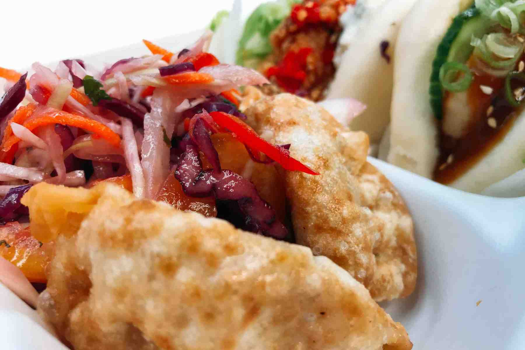 Deep-fried gyoza with slaw from Spitalfields Market in London